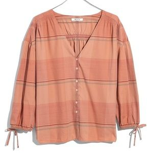 Madewell Coral Cotton Plaid Boho Blouse
